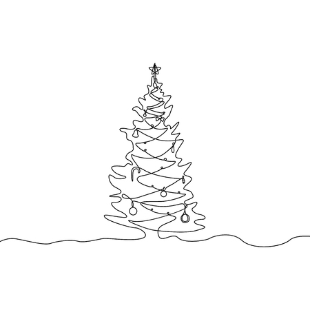 Continuous one line Christmas tree with decorations