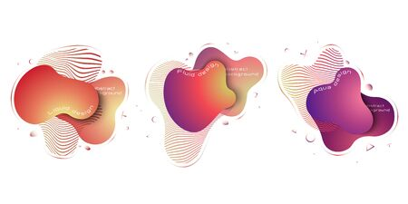 Liquid abstract elements set, modern trendy dynamical colored elements. Abstract background.