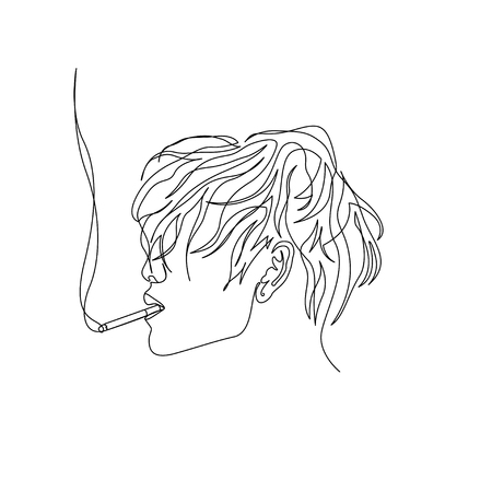 Continuous one line man with wavy hair smoking cigarette, side view. Art, vector illustration