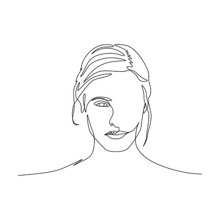 Continuous one line portrait of woman symmetric beautiful face. Art Иллюстрация