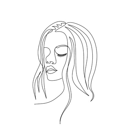 Continuous one line woman face with beautiful eyes. Art Иллюстрация