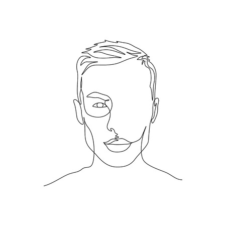 Continuous one line portrait of man with symmetric beautiful face. Art Иллюстрация