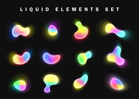 Set of bright glow gradient Liquid elements, design palette of shimmering colors. Futuristic abstract bright colorful paint splash fluid