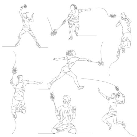 Continuous one line badminton player set.