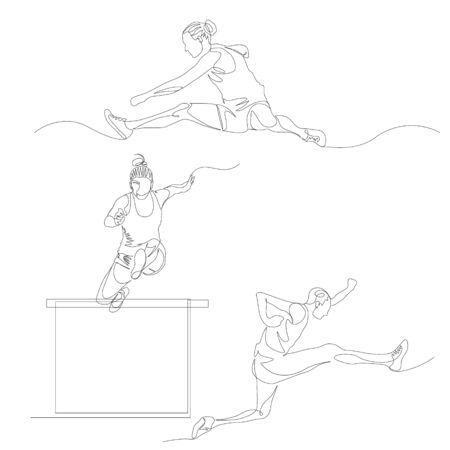 Continuous one line hurdling runner set. 向量圖像