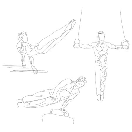 Continuous one line gymnast doing various exercise set.