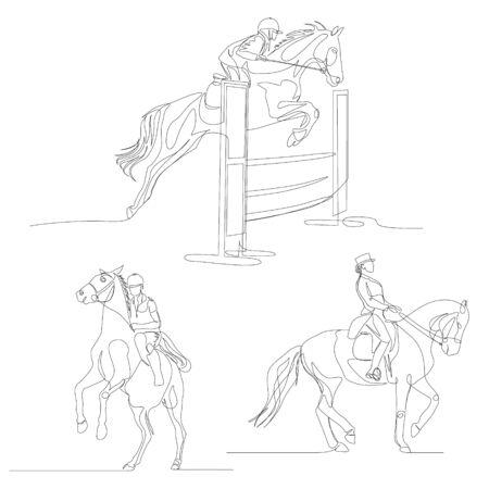 Continuous one line horseman set. Equestrianism sport