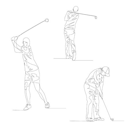 Continuous one line golf player set.
