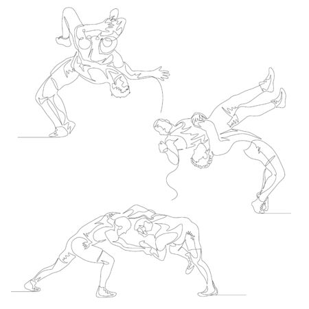 Continuous one line wrestlers set. Wrestler doing suplex. Wrestling theme.