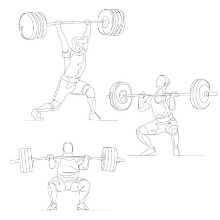 Continuous one line weightlifter set.