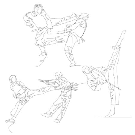 Continuous one line taekwondo fighter set. 向量圖像