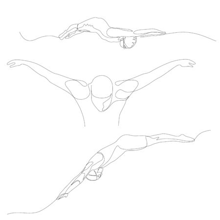 Continuous one line swimmer set. Swimming theme.