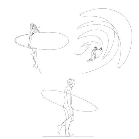 Continuous one line surfer set. 向量圖像