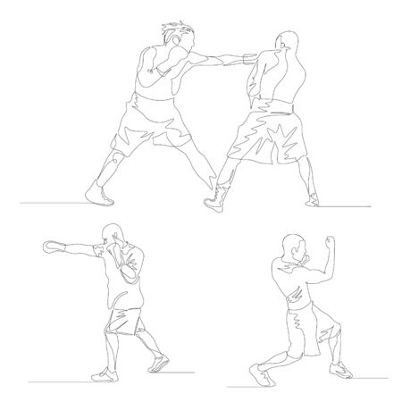 Continuous one line boxer set. Jab and uppercut illustration.