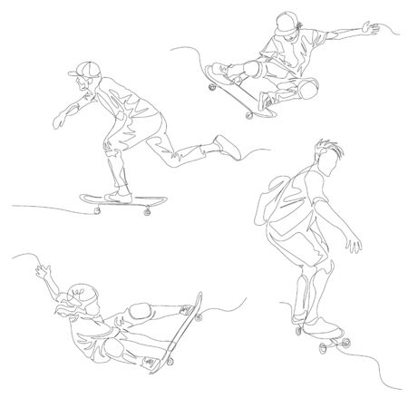 Continuous one line skater set. 向量圖像