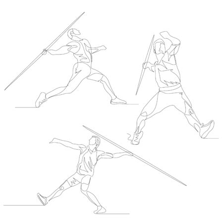 Continuous one line javelin thrower set. Иллюстрация