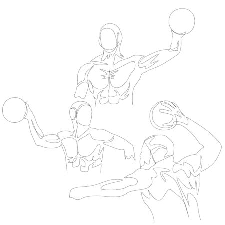 Continuous one line water polo player set.