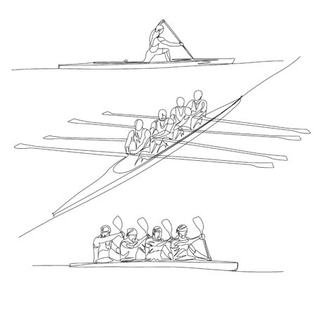Continuous one line rowing or crew sport set.