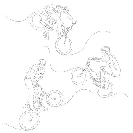 Continuous one line BMX cyclist set. 向量圖像