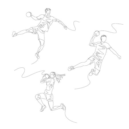 Continuous one line handball player set.