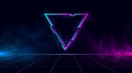 Retrowave background with sparkling glitched triangle and blue and purple glows with smoke.