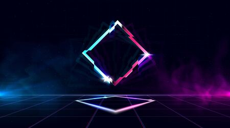 Retrowave background with sparkling glitched rhombus and blue and purple glows with smoke.