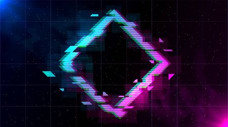 Retrowave Glitch Rhombus with sparkling and blue and purple glows with smoke.