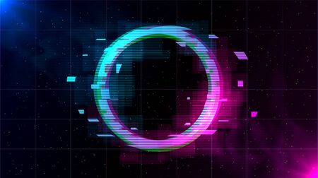 Retrowave Glitch Circle with sparkling and blue and purple glows with smoke. Иллюстрация