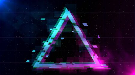 Retrowave Glitch Triangle with sparkling and blue and purple glows with smoke. Иллюстрация