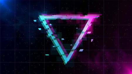 Synthwave Vaporwave Retrowave Glitch Triangle with blue and pink glows with smoke and particles on laser grid space background. Design for poster, cover, web, banner, wallpaper. Illustration
