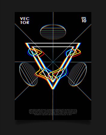 Poster for art exhibition or music event with glitched triangle on black background. Design for cover, poster, flyer, card, invitation etc. Illustration