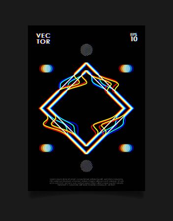 Poster for art exhibition or music event with glitched rhombus on black background. Design for cover, poster, flyer, card, invitation etc. Illustration