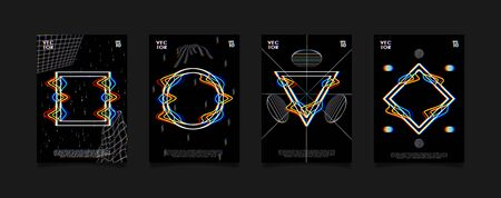 Set of posters for art exhibition or music event with glitched geometric shapes on black background. Design for cover, poster, flyer, card, invitation etc.