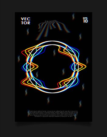 Poster for art exhibition or music event with glitched circle on black background. Design for cover, poster, flyer, card, invitation etc.