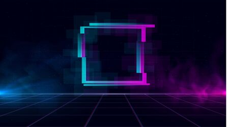 Synthwave vaporwave retrowave cyber landscape with sparkling glitch square, laser grid, blue and purple glows with smoke and particles. Design for poster, cover, wallpaper, web, banner.