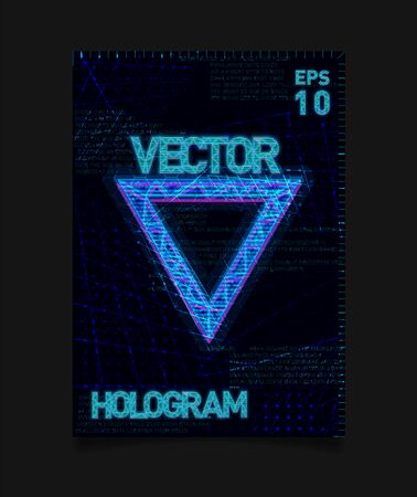 Futuristic Hologram HUD blue triangle with hologram effect and futuristic texture on background. Design for poster, flyer, cover, brochure, card, club invitation.