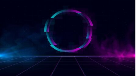 Synthwave vaporwave retrowave cyber landscape with sparkling glitch circle, laser grid, blue and purple glows with smoke and particles. Design for poster, cover, wallpaper, web, banner. Eps 10