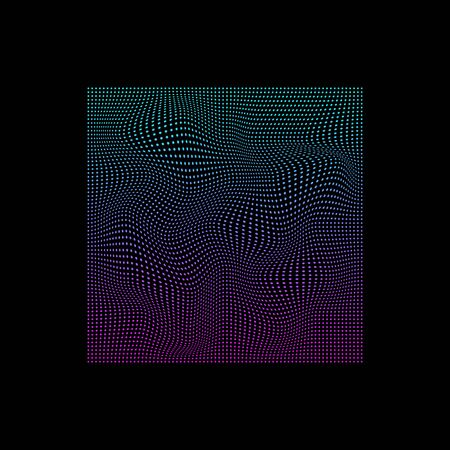 Glitched square of small dots in neon vivid colors on black background Illustration