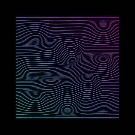 Glitched square of lines in neon vivid colors on black background.