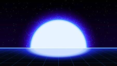 Retrowave synthwave vaporwave blue laser grid landscape with big electric sun in space. Retrofuturistic sunset with lightning. Ilustração