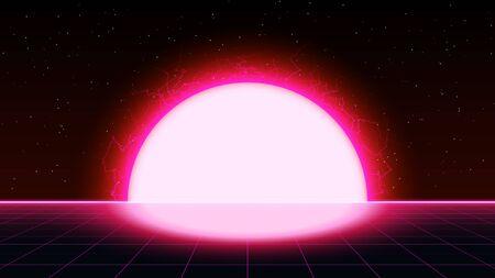 Retrowave synthwave vaporwave saturado paisaje de cuadrícula láser de color rosa con gran sol eléctrico en el espacio. Puesta de sol retrofuturista con relámpagos.