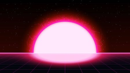 Retrowave synthwave vaporwave saturated pink color laser grid landscape with big electric sun in space. Retrofuturistic sunset with lightning.