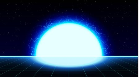 Retrowave synthwave vaporwave bright blue laser grid landscape with big electric sun in space. Retrofuturistic sunset with lightning.
