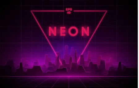 Retrowave night city with laser grid and big neon triangle on background. Futuristic cityscape with glowing neon pink and purple lights and fog on dark background. Иллюстрация