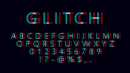 English letters, numbers and symbols with glitch effect. Font witn distortion effect. Red and blue channels.