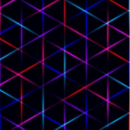 Neon triangle vivid laser grid on dark background.