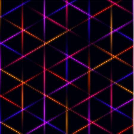 Neon triangle blue, pink, orange and red laser grid on dark background. Illustration