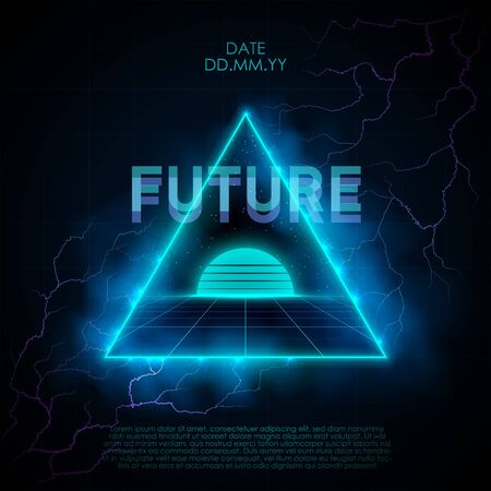 Retrowave style illustration with neon triangle portal leading to retrofuturistic place with laser grid, sunset and starry space. Violet-blue lightning strikes in a neon triangular shape.
