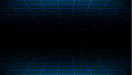 Synthwave vaporwave retrowave cyber background with copy space, laser grid above and below and starry sky.