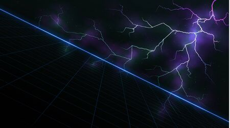 Synthwave vaporwave retrowave background with blue laser grid and lightning glowing in clouds in starry space.